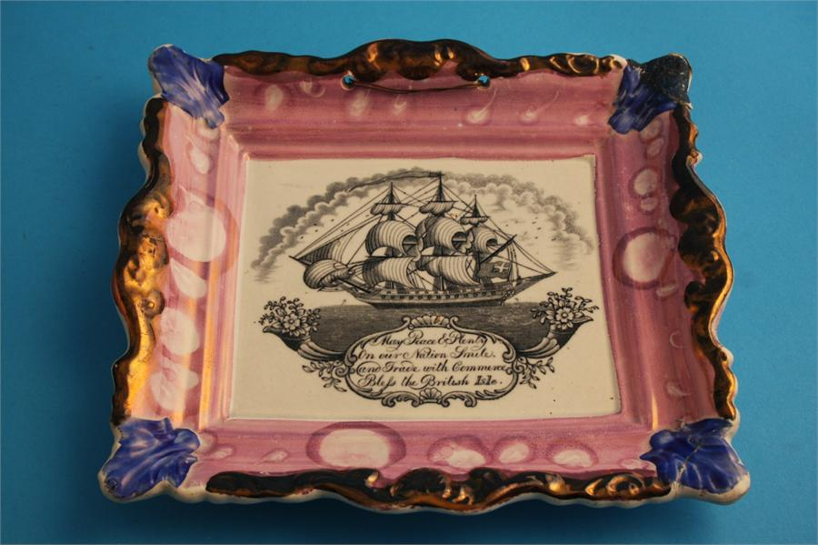 """Lot 60 - Two Victorian Sunderland purple lustre plaques """"May Peace and Plenty"""" and a """"Sunderland Bridge"""""""