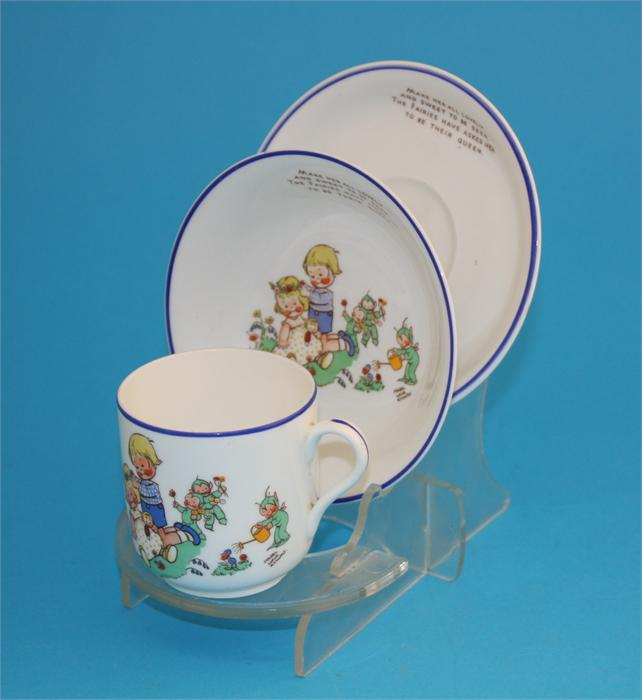 """Lot 33 - A Shelley trio decorated by Mabel Lucie Attwell """"Make her all lovely and sweet to be seen, the"""
