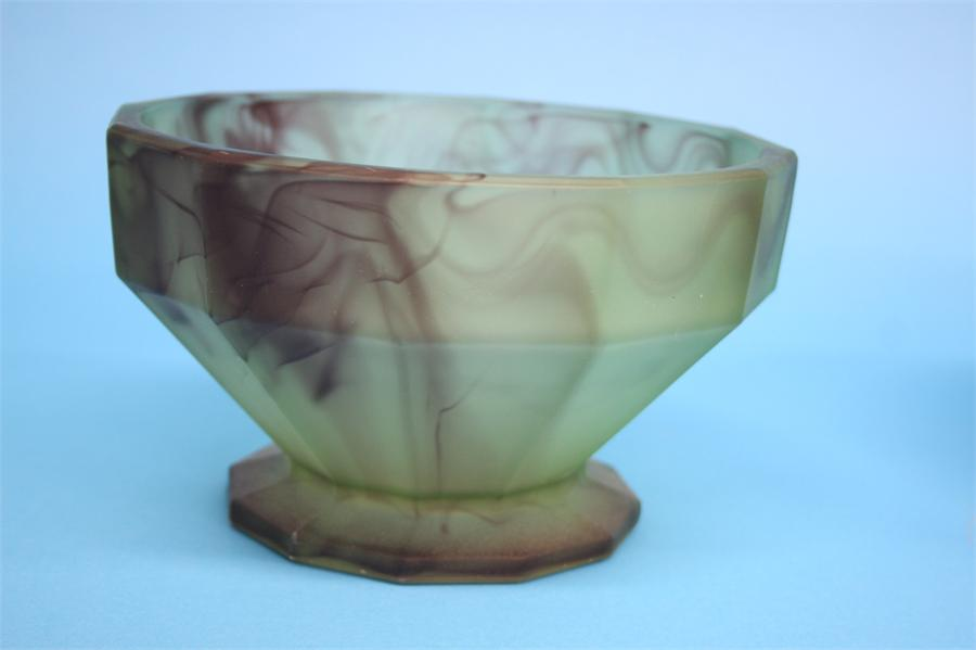Lot 45 - A Davidsons purple cloud glass bowl and stand on a blue ground and another bowl on a pale green