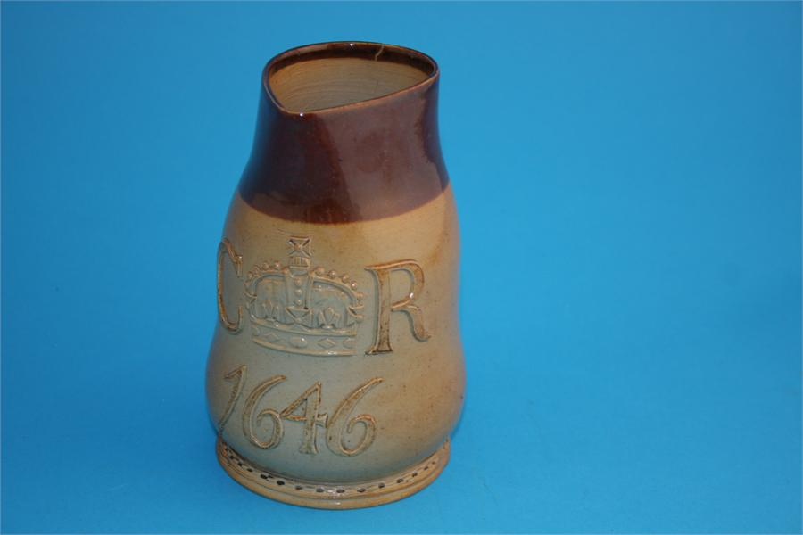 Lot 20 - A Doulton Lambeth stoneware jug CR 1646, impressed mark, manufactured for Phillips, Oxford Street,