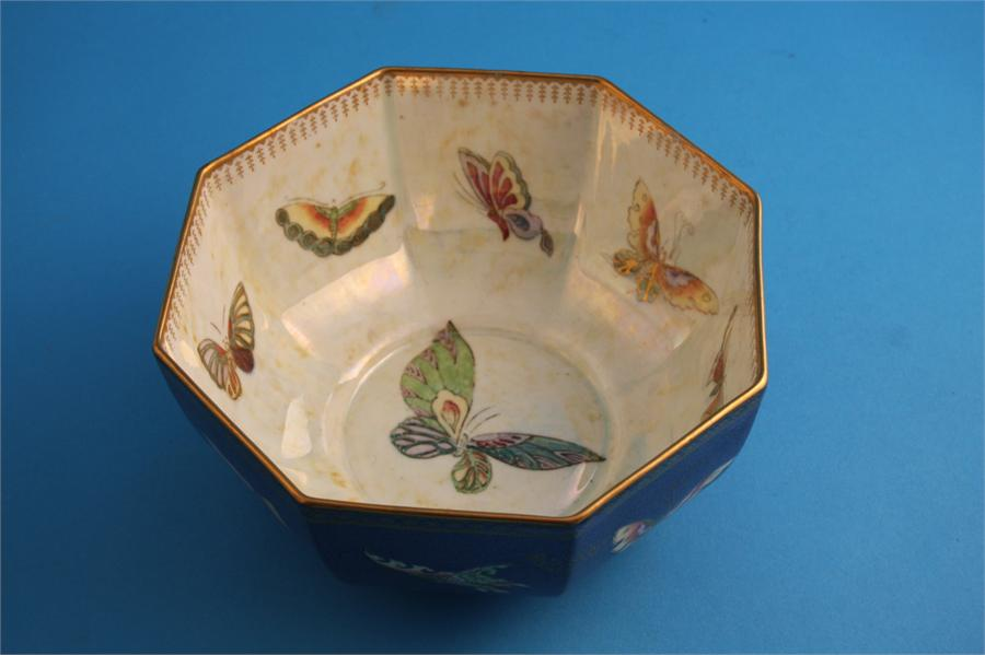 Lot 10 - A Wedgwood lustreware octagonal bowl decorated with panels of decorative butterflies, printed mark