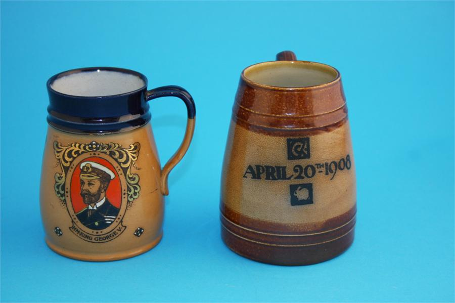"""Lot 22 - A Royal Doulton stoneware tankard """"King George VI and HM Queen Mary"""" impressed marks, number 7457;"""
