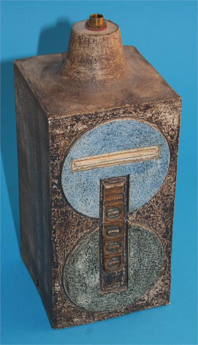 Lot 5 - A Troika pottery table lamp decorated with geometric sides, monogrammed SL and marked in pen.  28 cm
