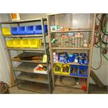 (2) SECTIONS SHELVES, HARDWARE, TOOLS, BOX CUTTERS, SAWS, AKRO BINS, ETC