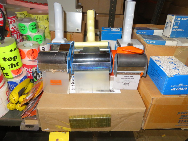 TAPE GUNS, DISPENSER, BOX STAPLES, BOX CUTTERS, BLADES & PRESSURE SENSITIVE PRINTED STICKERS - Image 3 of 5