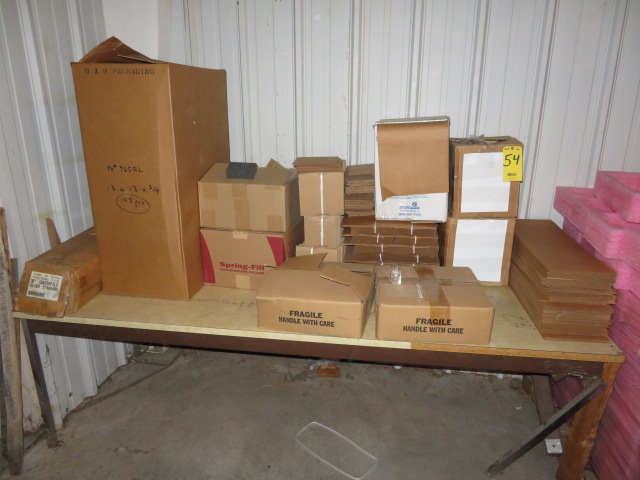 ASST PACKAGING-13 X 13 X 4 FOAM SQUARES, CRO-NEL DISP. BOX, CORRUGATED & CLAY LINER SHEETS...