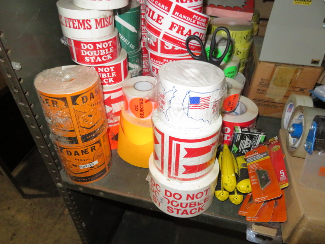 TAPE GUNS, DISPENSER, BOX STAPLES, BOX CUTTERS, BLADES & PRESSURE SENSITIVE PRINTED STICKERS - Image 2 of 5