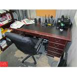 Contents of Office Including: (1) Wooden Desk (1) Rolling Office Chair (1) 5-Tier Book Shelf (1) 5-