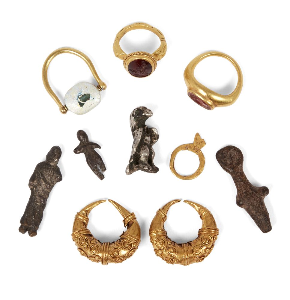 Lot 82 - A group of four Roman silver figures, 2nd-4th century A.D., and a quantity of gold items after the