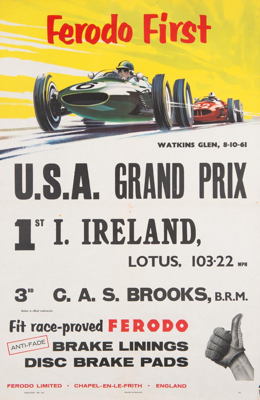 WATKINS GLEN: A Ferodo First U S A Grand Prix poster from