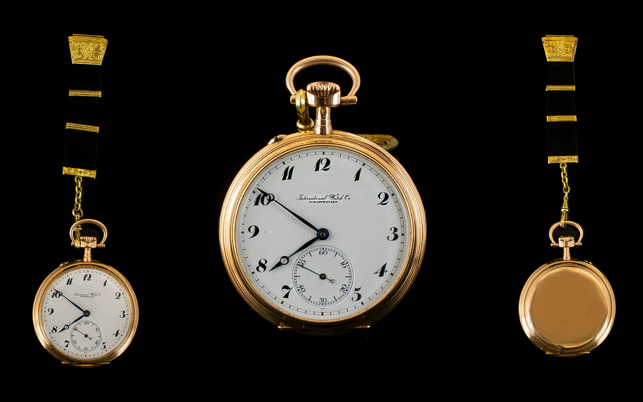 Lot 7 - International Watch Co Schaffhausen 14ct Rose Gold - Keyless High Grade Chronometer Open Faced