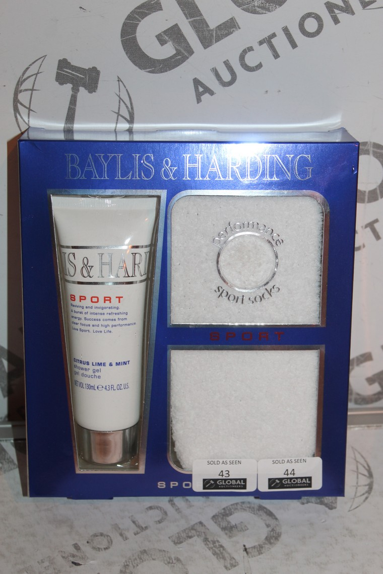 Lot 44 - Lot to Contain 3 Boxed Brand New Bayliss and Harding Sport Shower Gel and Sock Sets