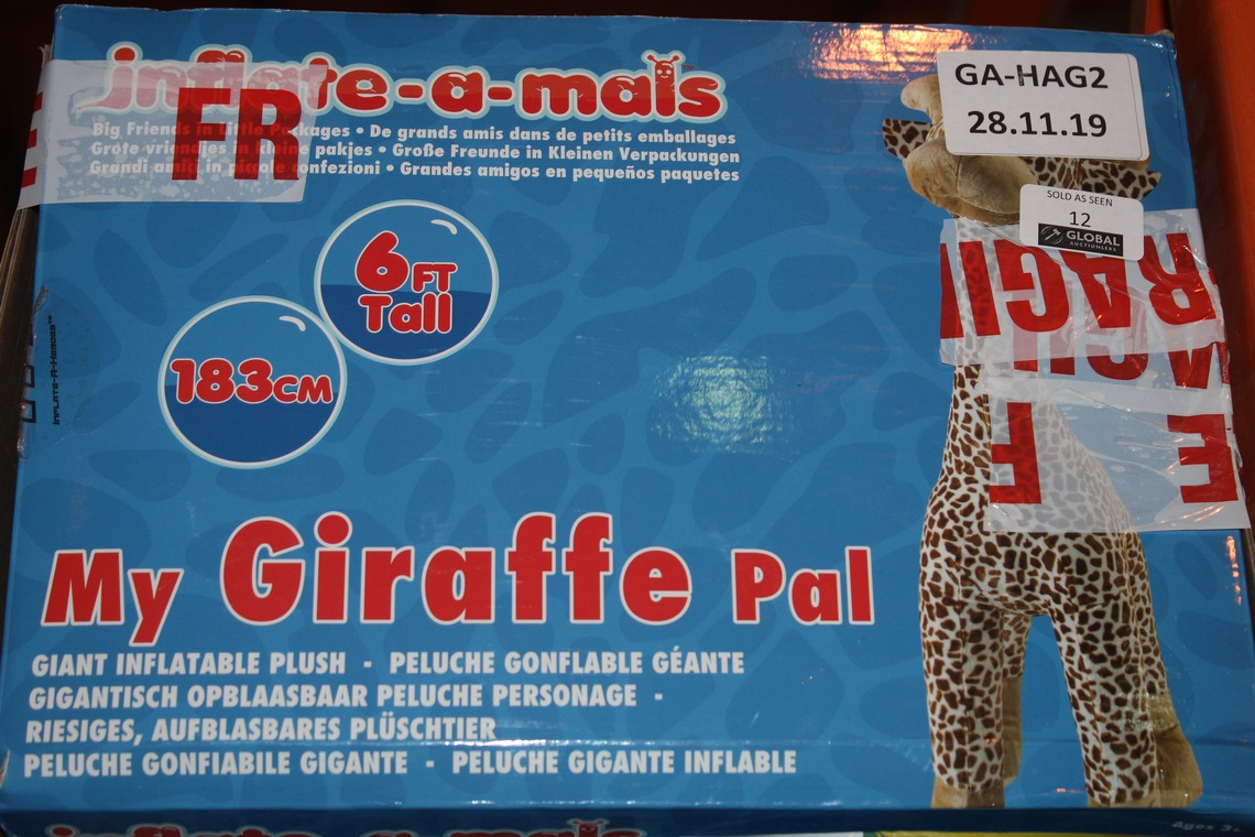 Lot 12 - Boxed 6ft Tall My Giraffe Giant Inflatable Pal RRP £35 (Public Viewing and Appraisals Available)