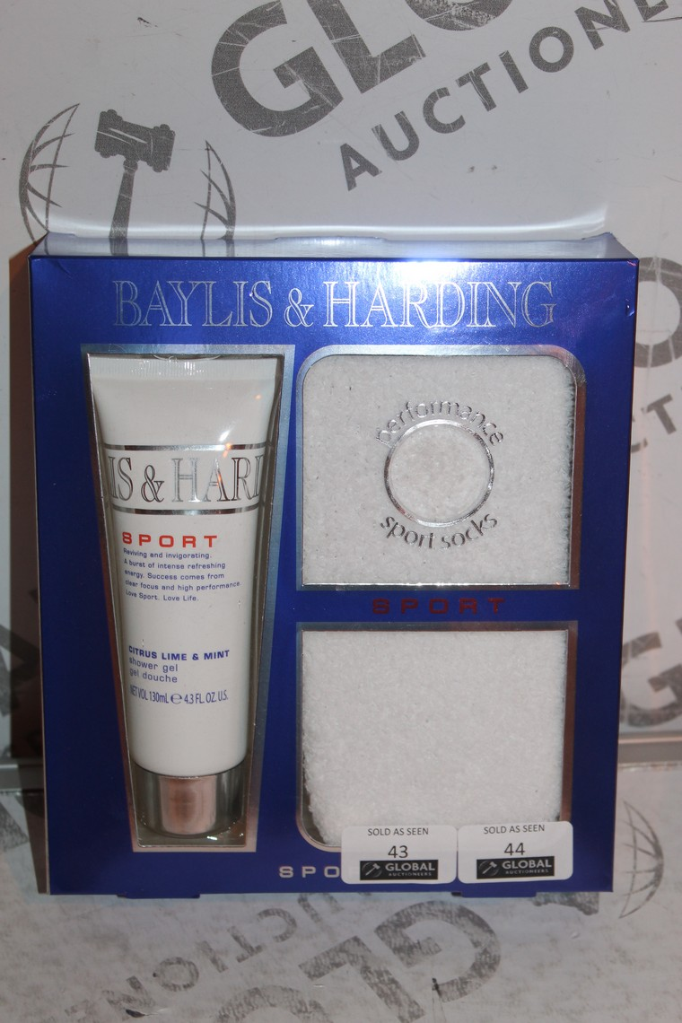 Lot 43 - Lot to Contain 3 Boxed Brand New Bayliss and Harding Sport Shower Gel and Sock Sets
