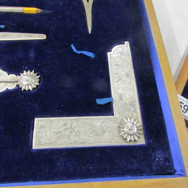 Lot 2570E - A superb cased set of Hall Marked silver Masonic working tools, Hall marked London 1934, Toye & Co.