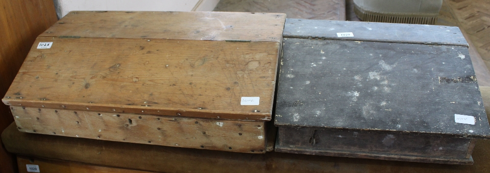 Lot 1028 - Two 19th Century pine writing slopes