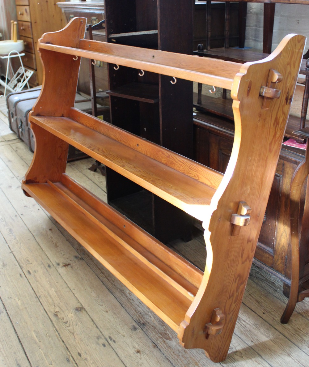 Lot 1030 - Substantial modern pine three tier hanging shelves