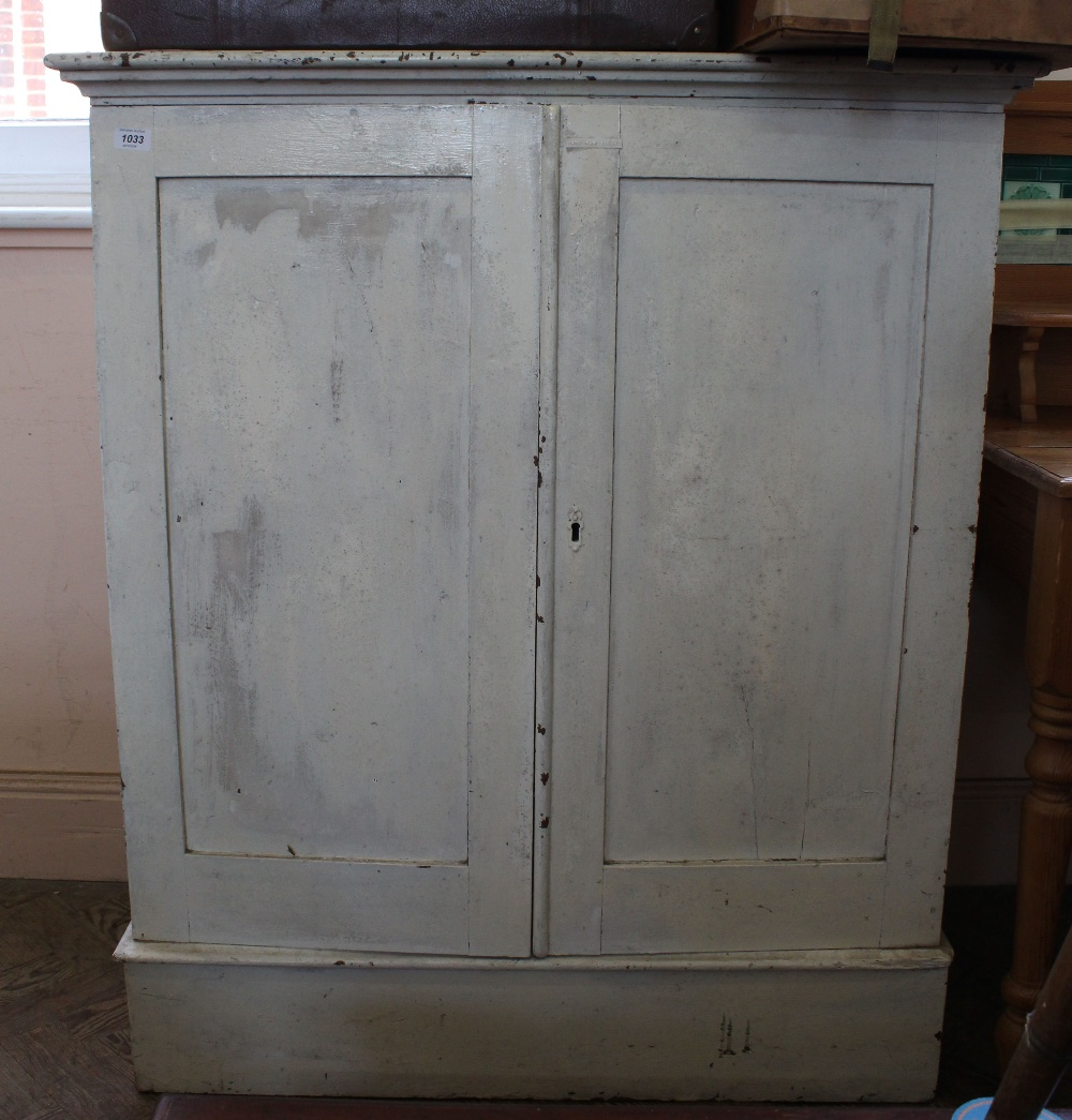 Lot 1033 - A 19th Century pine painted two door cupboard