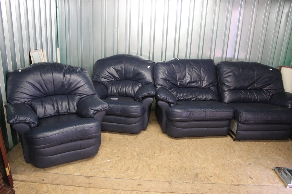 Lot 1031 - A blue leather three piece reclining suite