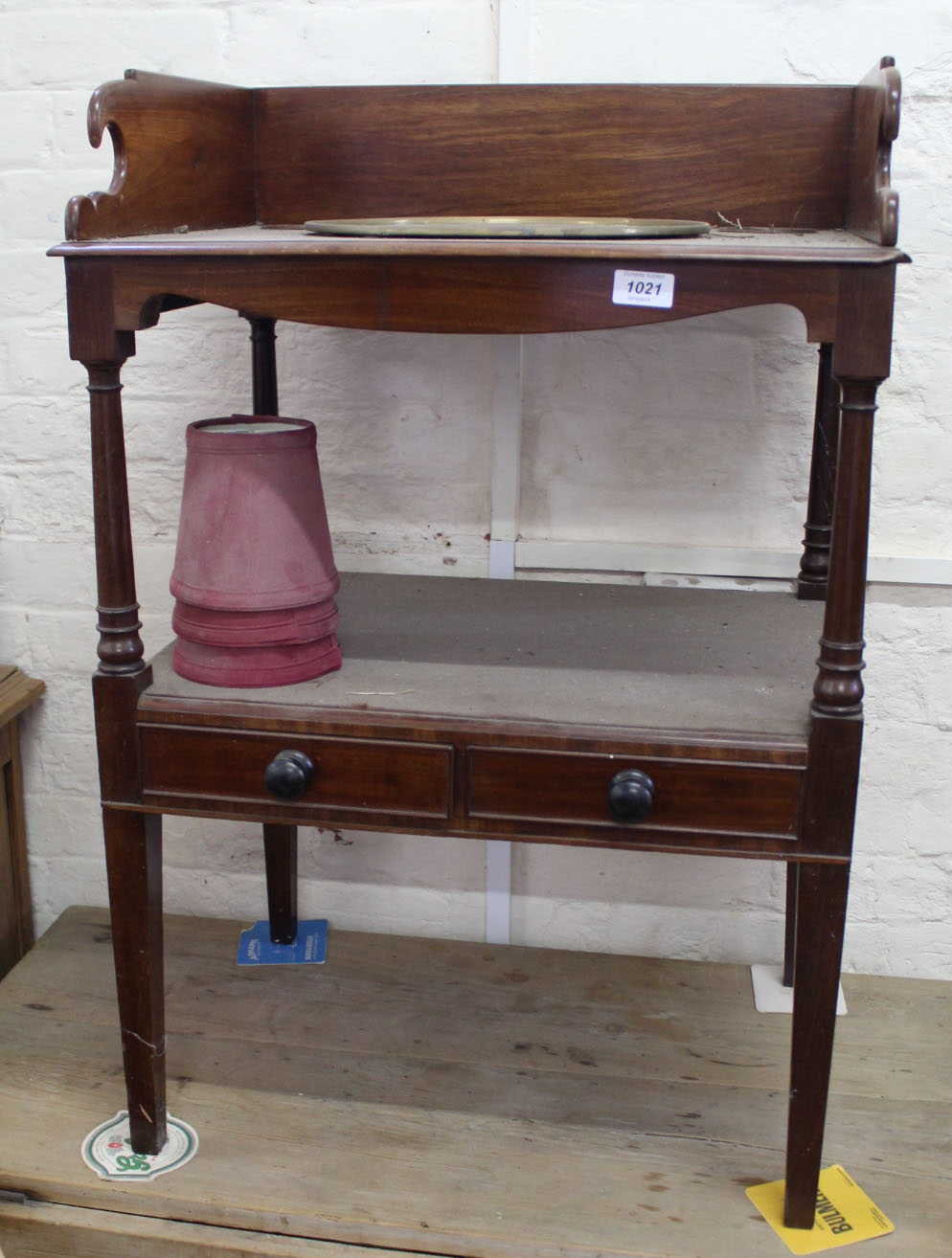 Lot 1023 - A 19th Century mahogany washstand with galleried upstand and single drawer and a Victorian pine