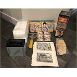 LOT OF ASSORTED RETAIL ITEMS. RADIO, ART PAGES, KIDS TATTOOS, PAINT A PLATE AND MORE