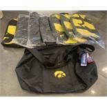 LOT OF 8 UNIVERSITY OF IOWA HAWKEYES LICENSED DUFFEL TRAVEL BAGS BRAND NEW