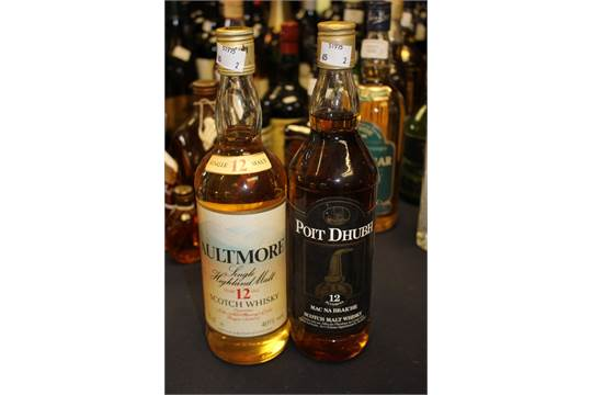 Aultmore 12 year old whisky and Poit Dhubh 12 year old Mac