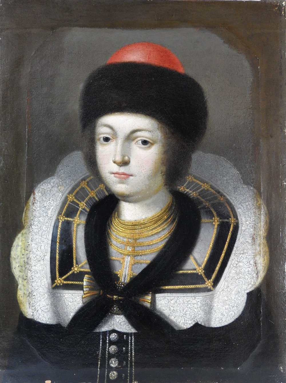 Lot 363 - Russian School, 17th century, Portrait of a young nobleman, head and shoulders,