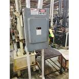 SQUARE D HEAVY DUTY SAFETY SWITCH PANEL BOX ON METAL STAND 200AMP/600 VOLT (LOCATED AT: 131 W.