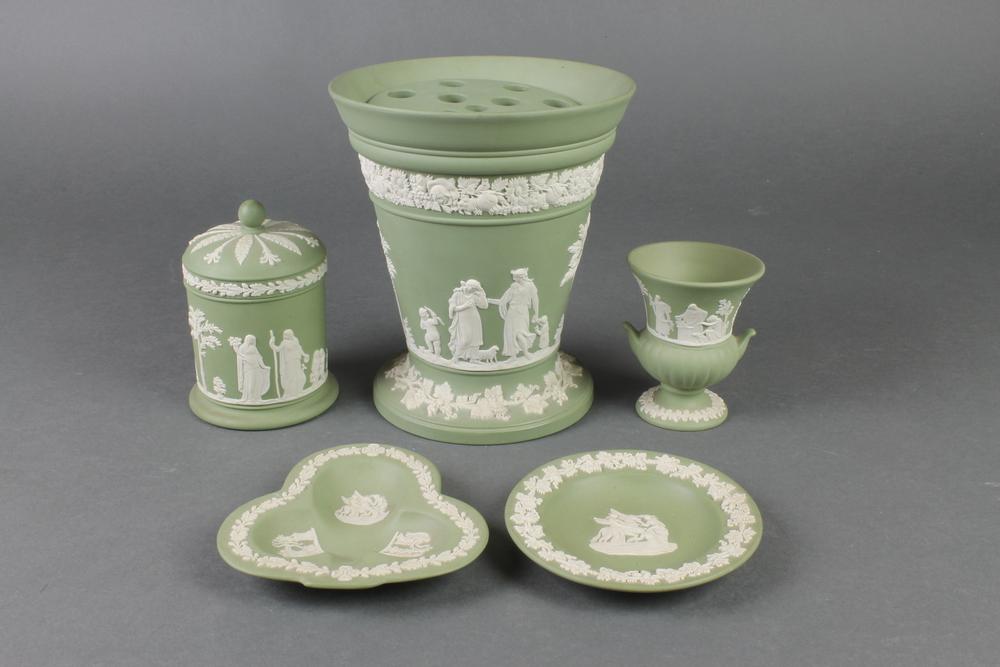 A Modern Wedgwood Green Jasperware Tapered Vase 7 2 Dishes A