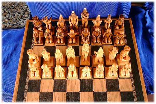 A rare 1993 Russian Boxwood chess set, depicting full