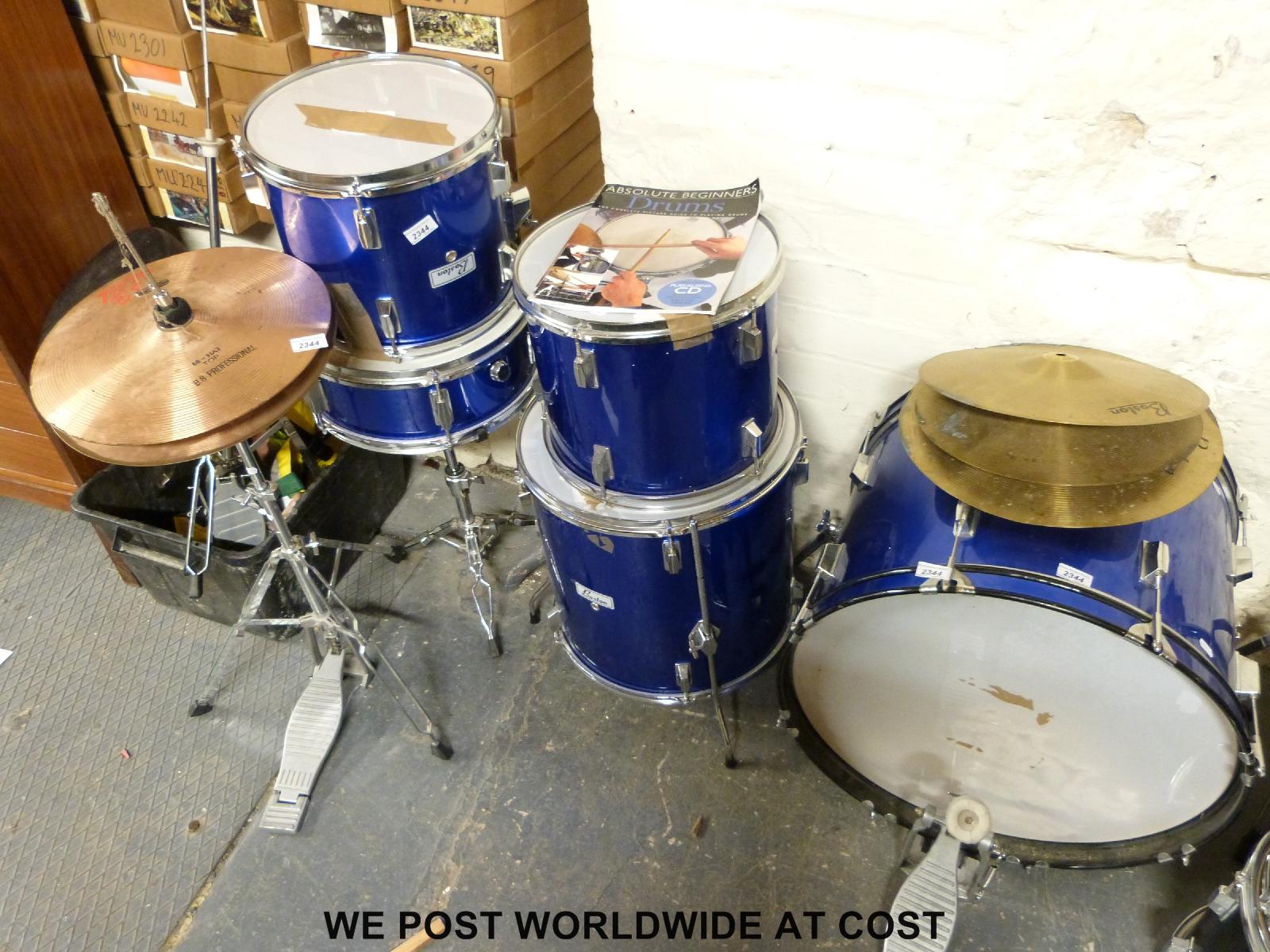 Lot 2344 - A Boston Drum kit in blue lacquer finish with Stagg drum stool and & A Boston Drum kit in blue lacquer finish with Stagg drum stool and ... islam-shia.org