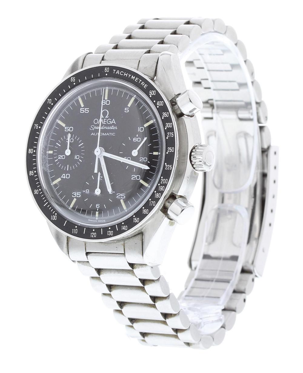 Lot 18 - Omega Speedmaster chronograph automatic stainless steel gentleman's bracelet watch, ref. ST 3750032,