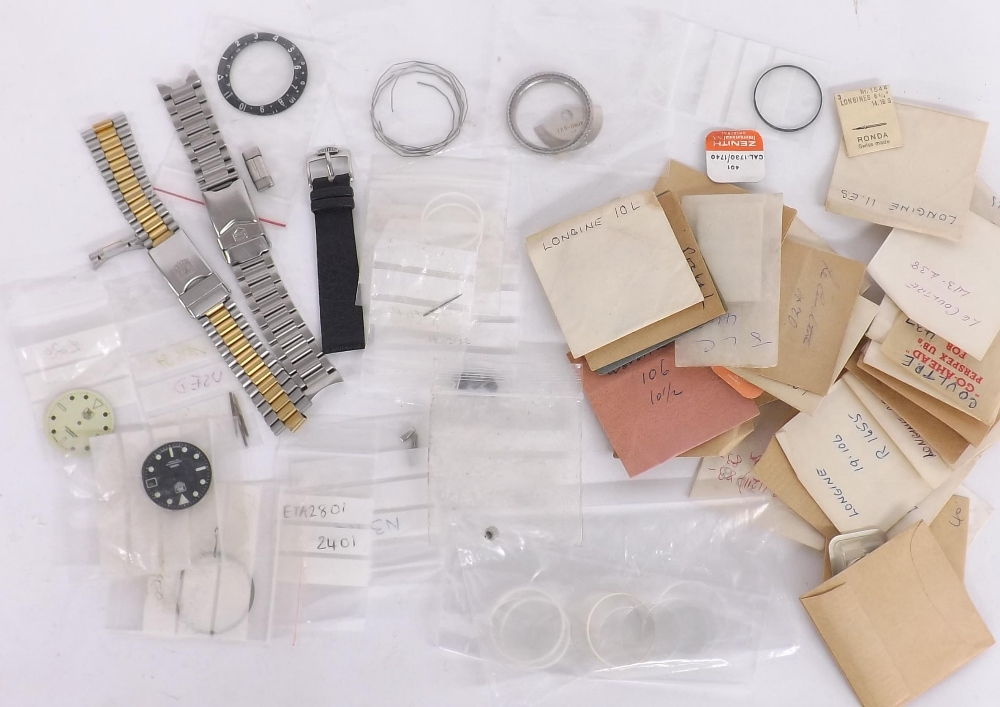 Lot 278 - Small quantity of wristwatch parts to include Longines, LeCoultre, IWC, Zenith; together with a