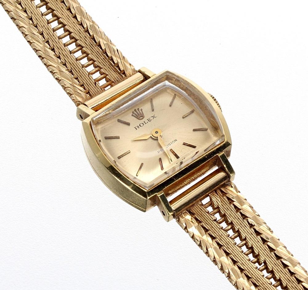 Lot 44 - Rolex Precision 18k lady's bracelet watch,