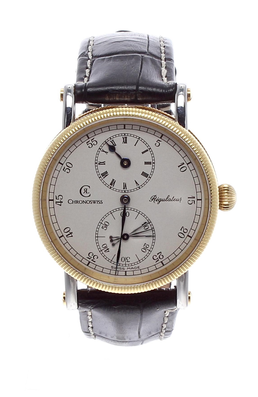 Lot 152 - Chronoswiss Regulateur gentleman's wristwatch, ref. CH 6322, circular silvered dial with outer