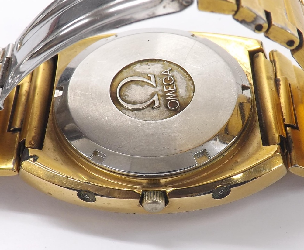 Lot 8 - Omega Genéve Megaquartz 32KHz gold plated and stainless steel gentleman's bracelet watch, ref.