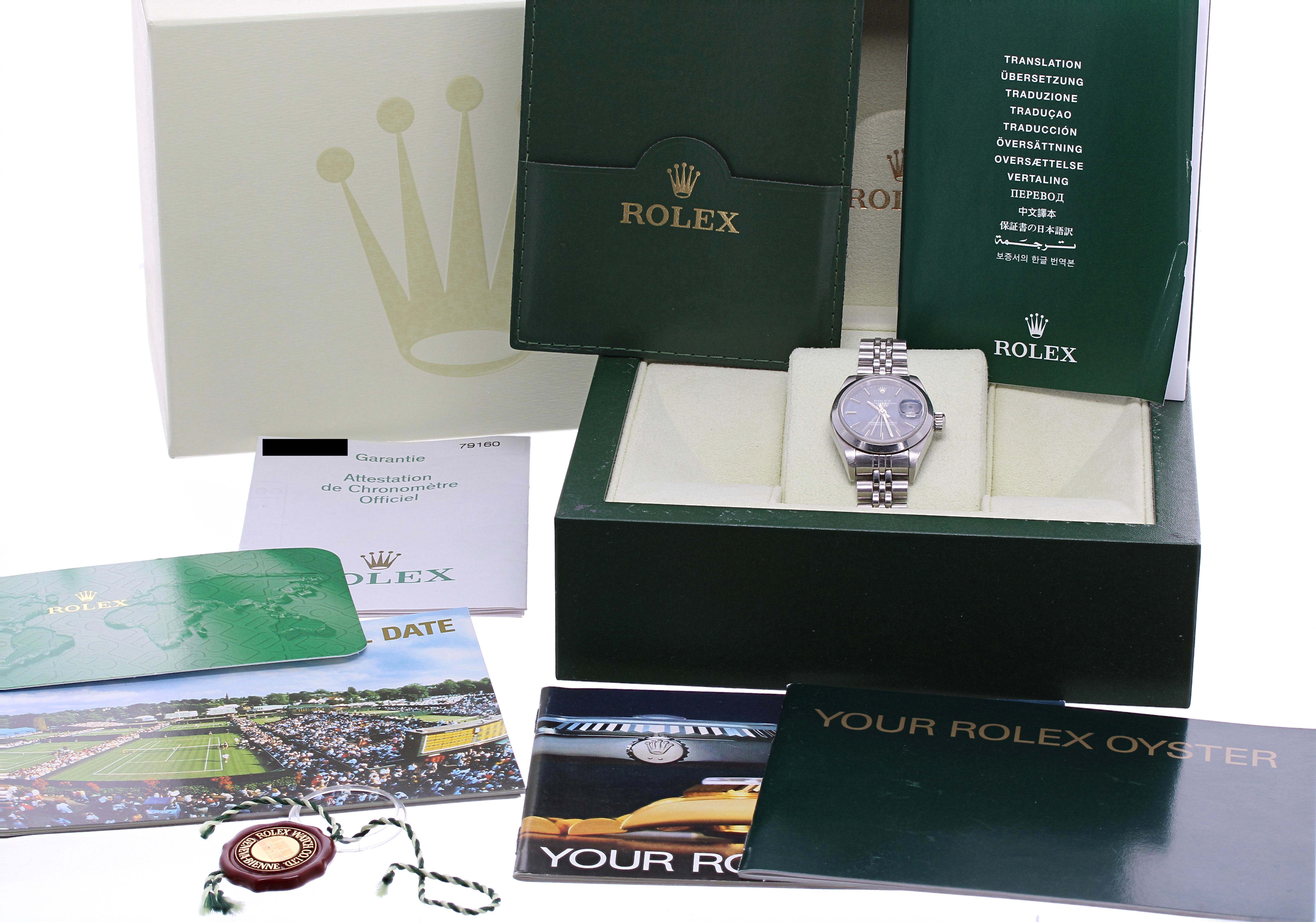 Lot 52 - Rolex Oyster Perpetual Date stainless steel lady's bracelet watch, ref. 79160, circa 2003/2004,