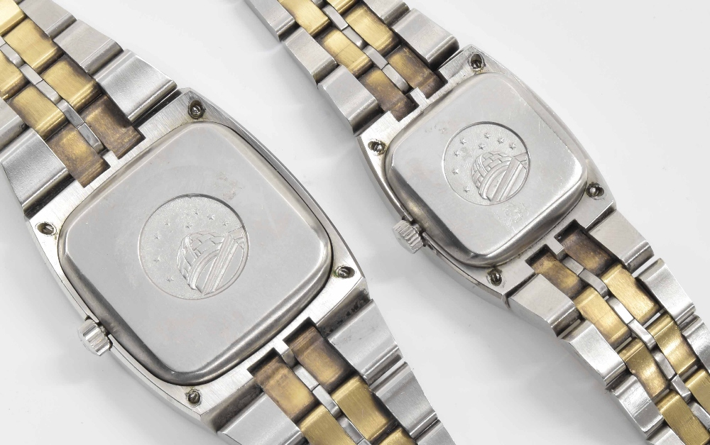 Lot 35 - Pair of Omega Constellation Chronometer automatic bicolour lady's and gentleman's bracelet