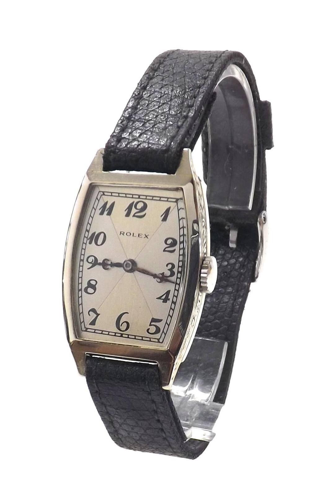 Lot 45 - Rolex 18k white gold gentleman's wristwatch, circa 1920s, serial no. 1xxxx23, the tonneau silvered
