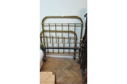 An Edwardian Tubular Lacquered Brass Single Bed Of Simple