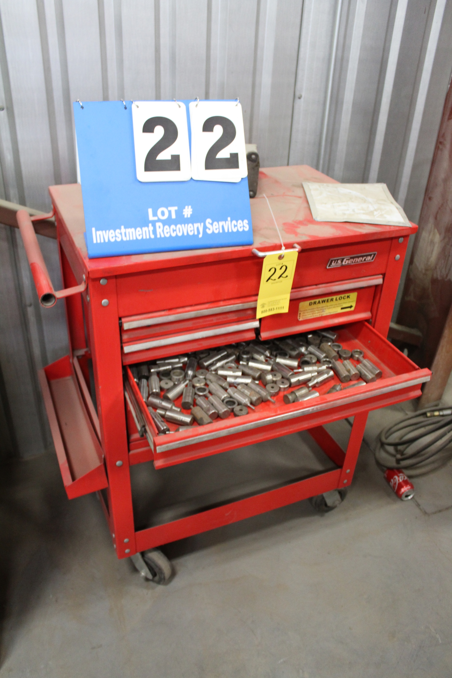 Lot 22 - US GENERAL TOOL BOX W ASST PUNCH TOOLING