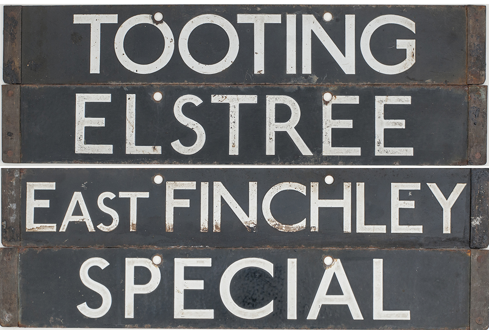 Lot 420 - A pair of London Underground tube stock destination enamels TOOTING/EAST FINCHLEY and ELSTREE/