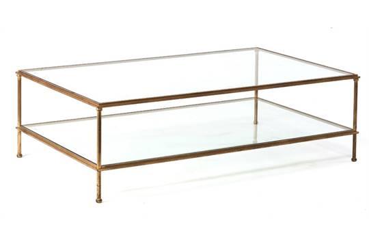 Table Basse Xxe S En Metal Dore A Montants Tubulaires Deux