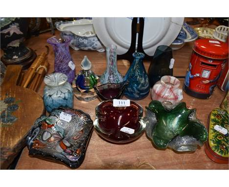 A selection of studio and art glass including mottled and marbled examples several chips to top rim of purple vase. point mis