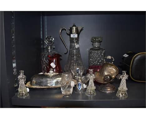 A selection of plated wares and clear cut crystal glass wares including claret jug and Royal Doulton decanter