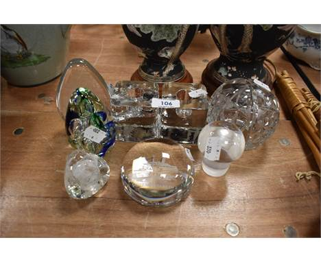 A selection of clear cut crystal glass paper weights