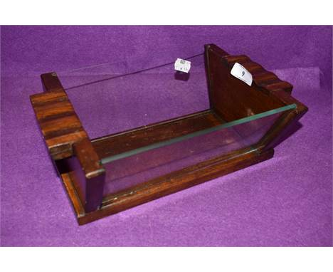 A wood and glass sided Art Deco fruit bowl 30cm long