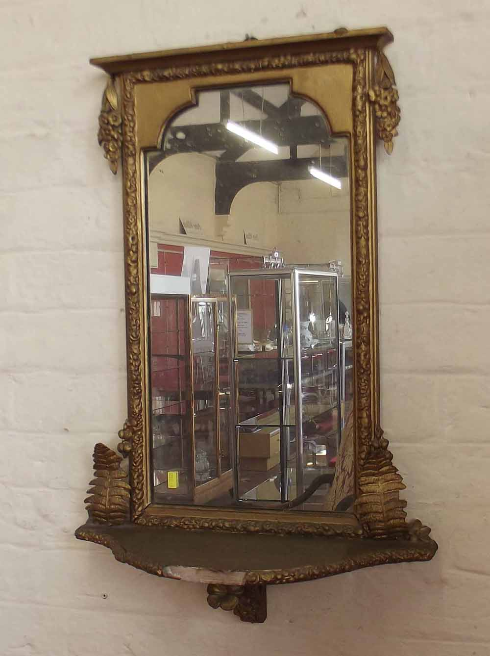 Gilt framed victorian wall mirror with bracket foot for 7 foot mirror