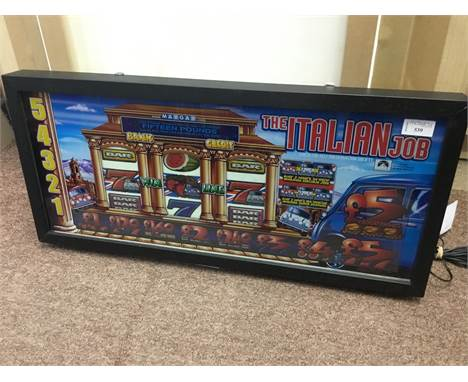ITALIAN JOB SMALL FRUIT MACHINE POP ART UP-CYCLED FRUIT MACHINE GLASS, from lower section of machine, back lit and box framed
